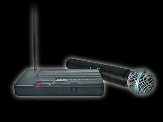 Acesonic VHF 1000 wireless DJ microphone ideal for karaoke DJ setups and for mobile DJs