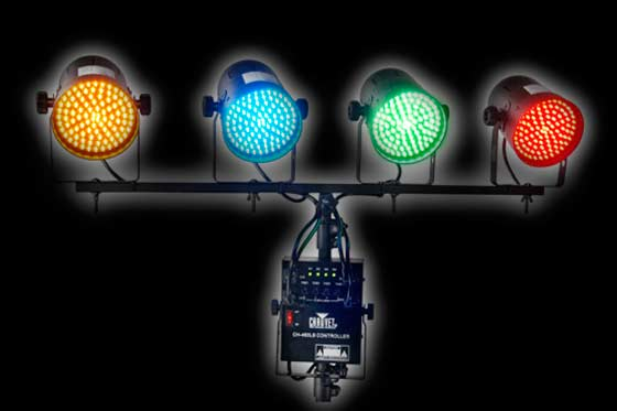Chauvet LED PAR 38 DJ lighting system w/ 4 cans in different colors and a dimmer pack